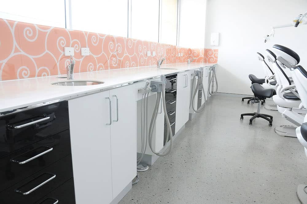 The main room for treatment at Oasis Orthodontics showing all of the equipment ready for use.